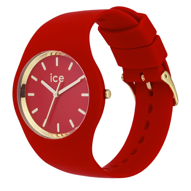 MONTRE ICE WATCH ICE GLAM RED BRACELET SILICONE MOUVEMENT A QUARTZ