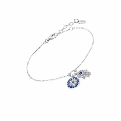 bracelet lotus en argent rhodié avec main de fatima et cristaux bleus