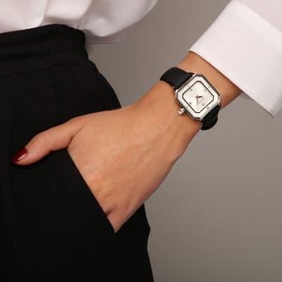 MONTRE je_t_adore_jour_et_nuit_carr__cadran_acier__nacre_bracelet_noir