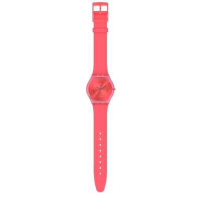 MONTRE SWATCH SKIN SWEET CORAL BOITIER TRANSPARENT BRACELET SILICONE CORAIL