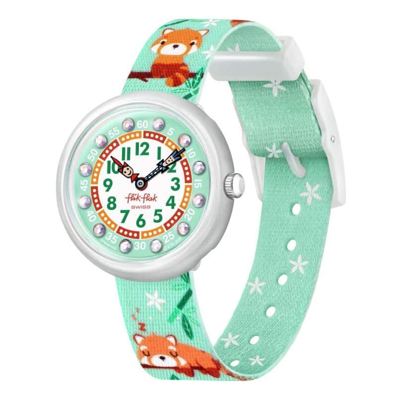 montre flik flak pandamazing avec index strass bracelet vert menthe