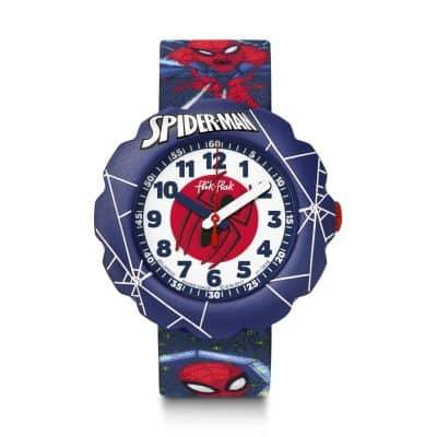 montre flik flak enfant spider-man in action rouge et bleue