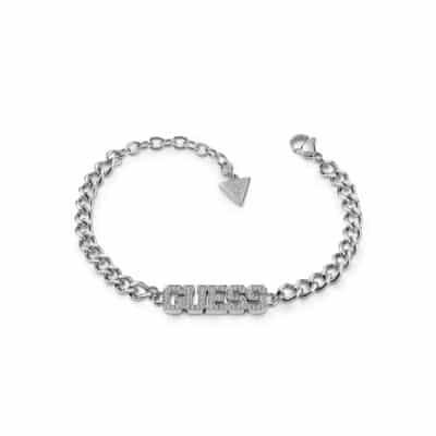 Bracelet acier rhodié logo GUESS pavé