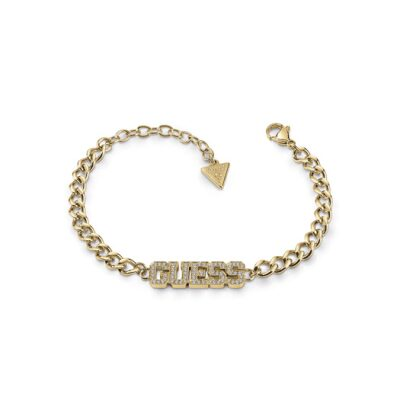 Bracelet acier doré logo GUESS pavé