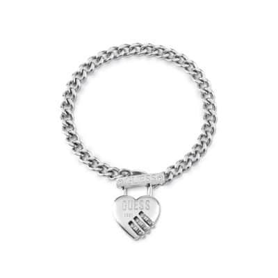 Bracelet acier rhodié cadenas cœur, fermoir T et logo GUESS