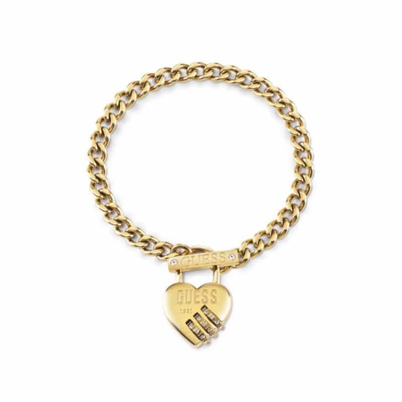 Bracelet acier rhodié DORE cadenas cœur, fermoir T et logo GUESS
