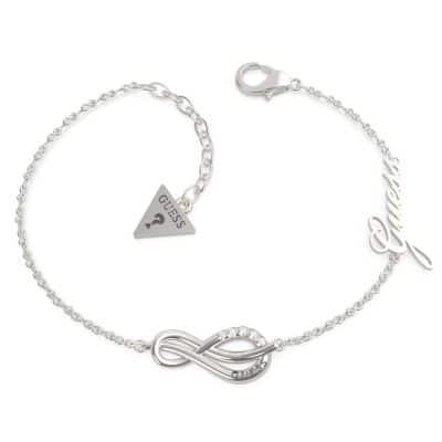 Bracelet acier rhodié motif infini pavé et logo GUESS