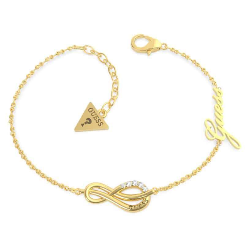 Bracelet acier doré rhodié motif infini pavé et logo GUESS