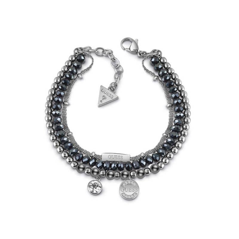 Bracelet multi chaines logo & cristal bleu nuit