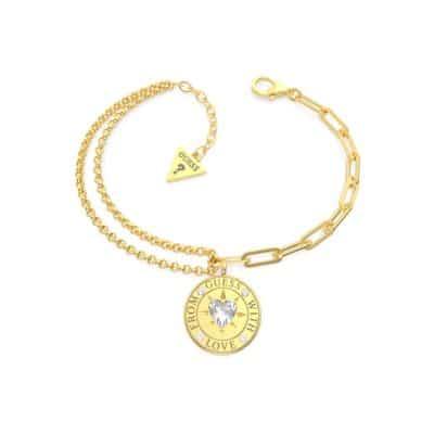Bracelet acier doré. pièce et cristaux de Swarovski