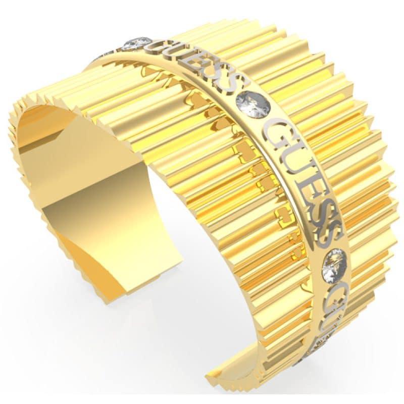Jonc acier doré plissé logo GUESS et cristaux de Swarovski