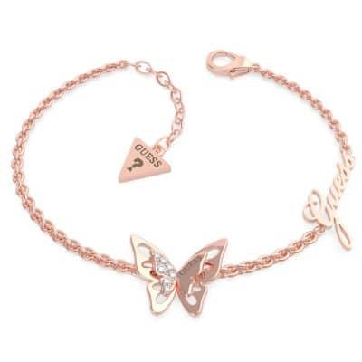 Bracelet acier doré rose papillon