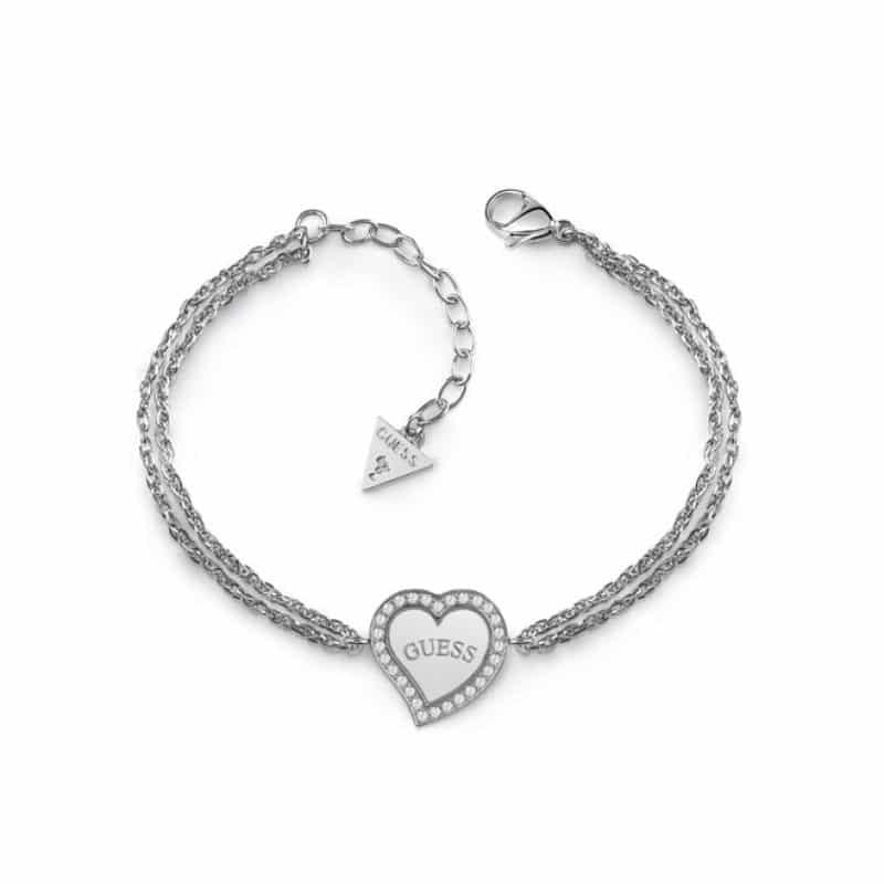 Bracelet acier deux chaînes et cœur avec logo GUESS pavé de cristaux Swarovski