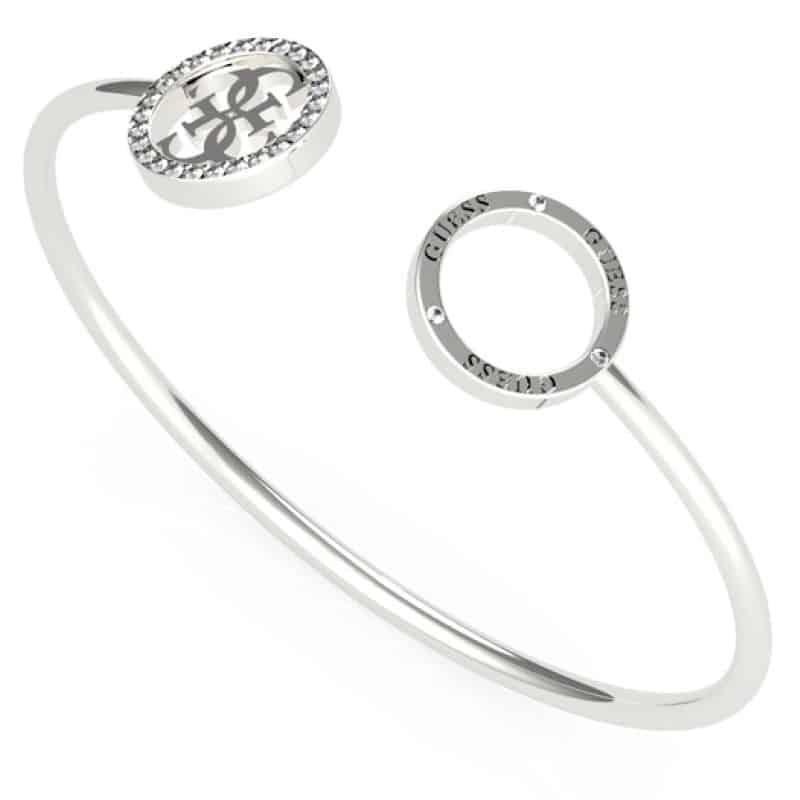 Bracelet acier rhodié jonc flexible logo 4G et cristaux de Swarovski