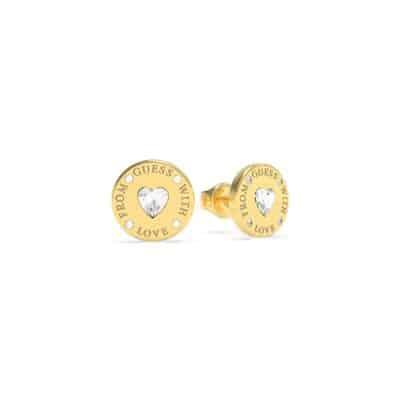 Boucles d'Oreilles acier doré rhodié cœur en cristaux de Swarovski
