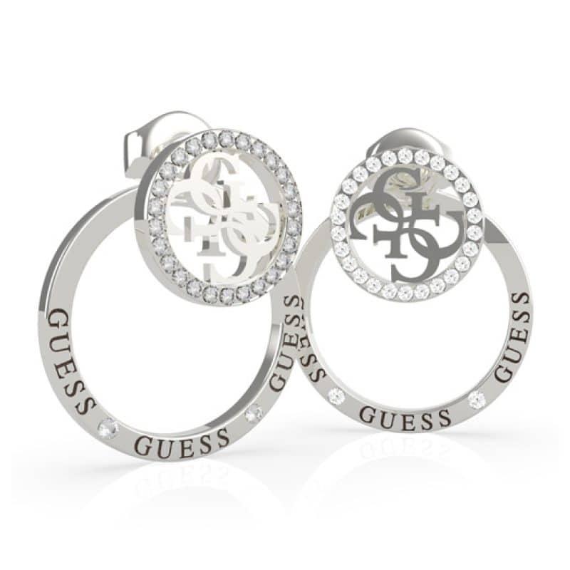 Boucles d'Oreilles puces acier rhodié logo 4G et cristaux de Swarovski