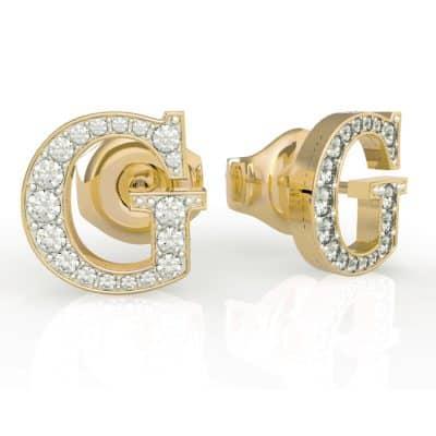 Boucles d'Oreilles puces acier doré G et cristaux de Swarovski