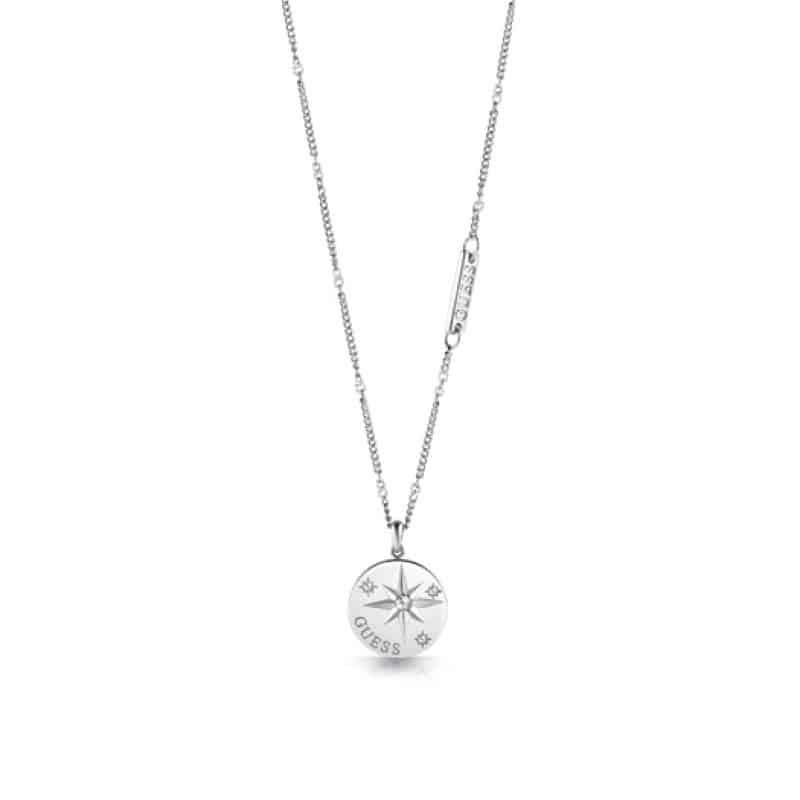 Collier acier rhodié pièce de boussole et cristaux de Swarovski