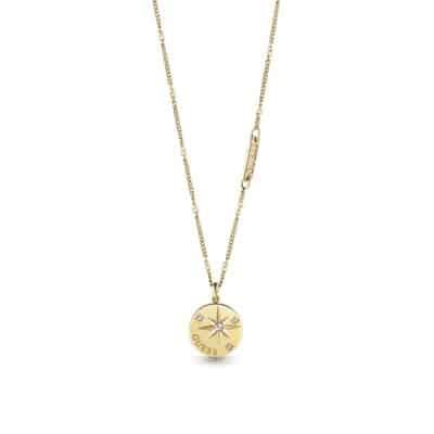 Collier acier doré rhodié pièce de boussole et cristaux de Swarovski