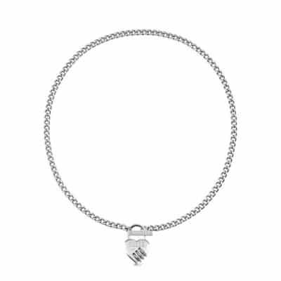 Collier acier rhodié cadenas cœur, fermoir T et logo GUESS