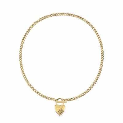 Collier acier doré rhodié cadenas cœur, fermoir T et logo GUESS