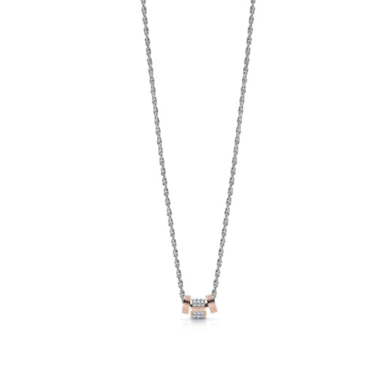 Collier acier avec anneau doré rose pavé de cristaux de Swarovski entouré de deux anneaux dorés rose avec logos GUESS