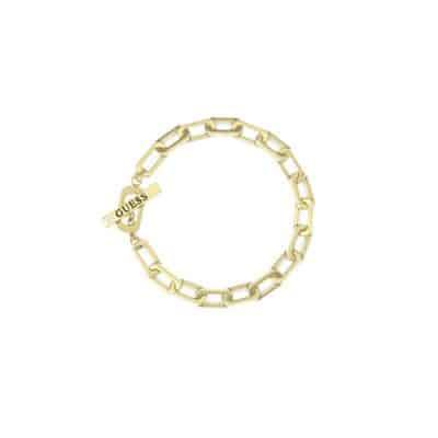 Bracelet GUESS acier doré mailles ovales et fermoir en T avec logo GUESS