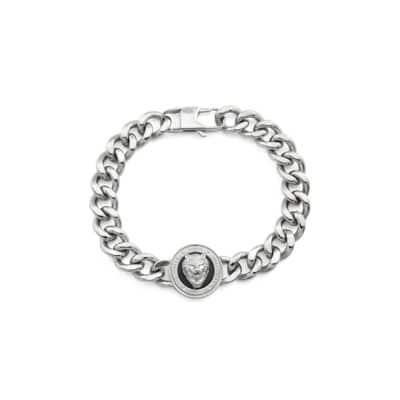 Bracelet GUESS acier rhodié et tête de lion fond noir