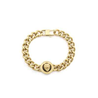 Bracelet GUESS acier doré rhodié et tête de lion fond noir