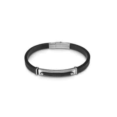 Bracelet GUESS HM noir plaque Guess acier