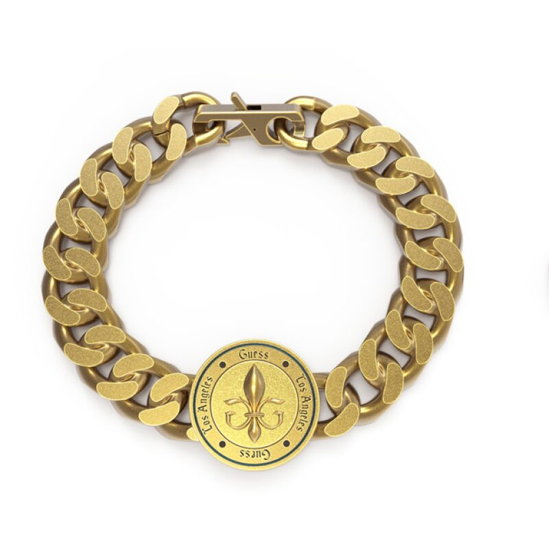 Bracelet GUESS acier doré vieilli pièce fleur de lys
