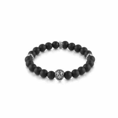 Bracelet GUESS perles noires et détails acier tête de lion et logo GUESS