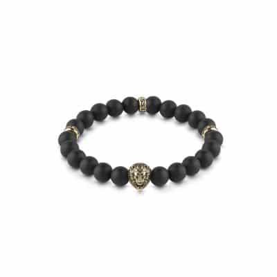 Bracelet GUESS perles noires et détails acier doré tête de lion et logo GUESS