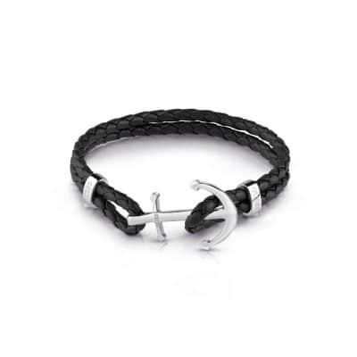 Bracelet GUESS cuir noir et forme Ancre acier
