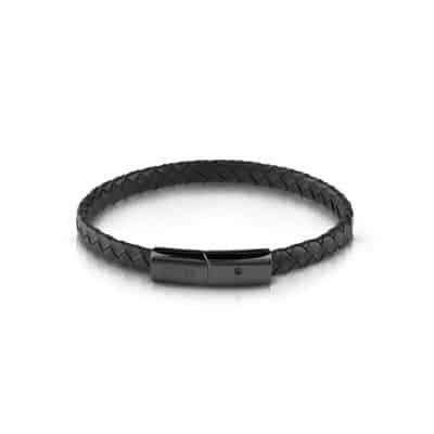 Bracelet GUESS cuir noir fermoir en acier noir