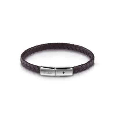 Bracelet GUESS cuir marron fermoir en acier