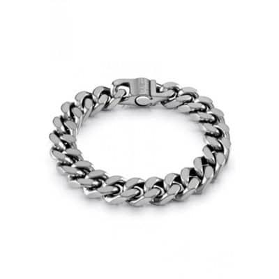 Bracelet GUESS acier argenté vieilli maille coupée quatre cotés