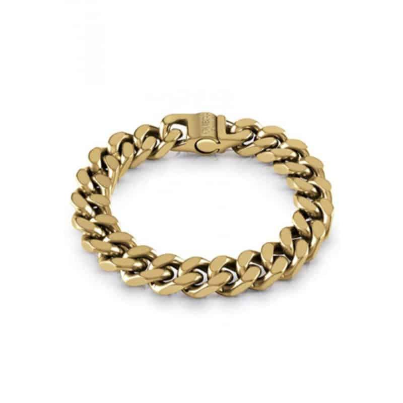 Bracelet GUESS acier doré vieilli maille coupée quatre cotés
