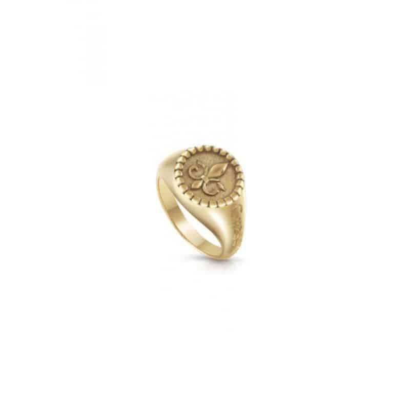 Bague GUESS ronde acier doré vieilli fleur de lys