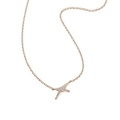 COLLIER MAUBOUSSIN FRENCH VALENTINE ETOILE OR ROSE ET PAVAGE DIAMANT