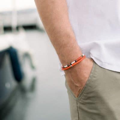 bracelet pierre paul jacques cuir orange tresse