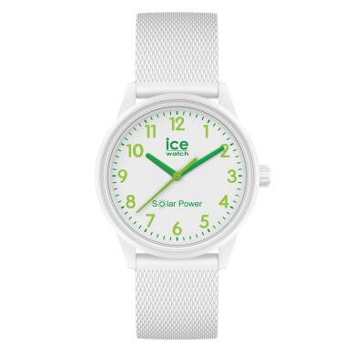 MONTRE ICE WATCH SOLAR POWER NATURE NUMBERS BRACELET SILICONE BLANC DETAILS VERT