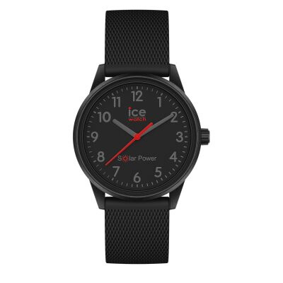 MONTRE ICE WATCH SOLAR POWER BLACK RED NUMBERS SMALL BRACELET SILICONE NOIR