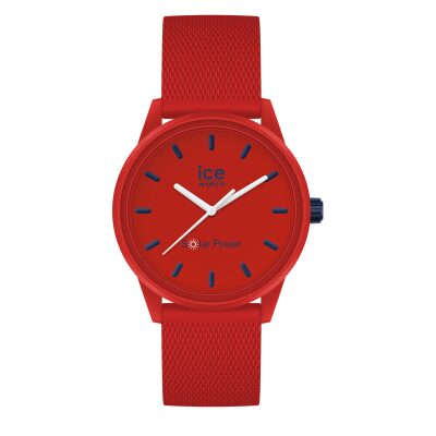 MONTRE ICE WATCH SOLAR POWER RED NAVY BRACELET SILICONE ROUGE DETAILS BLEU