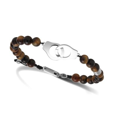 bracelet rochet oeil de tigre menotte acier